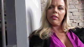 Blonde MILF with huge tits Amber_Lynn Bach fucked hard by BBC image