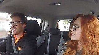 Threesome ffm fuck in fake driving school car image