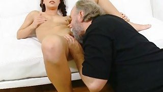 Juvenile playgirl licked by an old boy image
