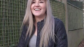 Czech blonde cheating bf in public image
