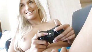 Gamer girlfriend is a hot teen fucking on the couch image