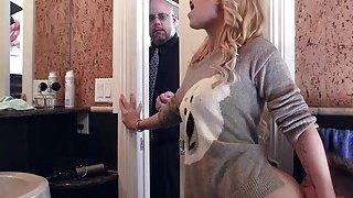 Blonde girlfriend bangs at home image