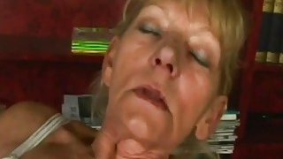Slutty blonde granny rubs her hairy vagina before gets fucked hard by a horny man image