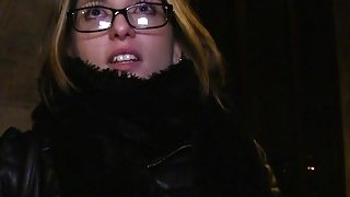Czech babe bangs in dark in public image