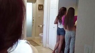 Teen babysitter Kimber Lee gets talked into threesome by hot MILF Ashley Sinclair image