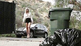 Image: Big tits blonde Nina Ella helps teen babe Karla Kush her first lesbian experience
