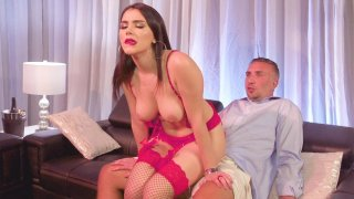 Image: Valentina Nappi_is sexy pink outfit rides Keiran's cock