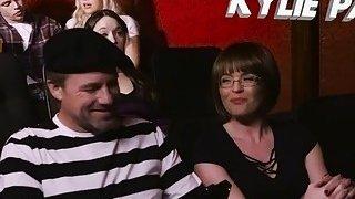 Dude bangs his teen gf and her stepmom in cinema image