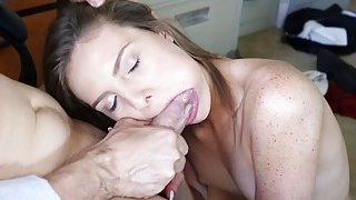 Shyla Ryder giving Mr Rich a blowjob image