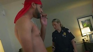 Two nasty big tit female cops make handsome black dude fucking their vaginas image