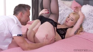 Big booty slut Misha rides a cock in some sexy lingerie image