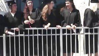 Hot blonde college slut getting slammed hard on the graduation day image
