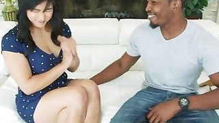Image: A very hot Asian chick Mia Li gets her tight butt fucked hard by horny black man