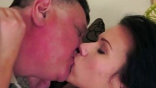 Brunette Denise Sky licked suck off and rides grandpas cock image