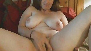 Chubby Brunette Cougar Enjoys Toying Hairy_Pussy image