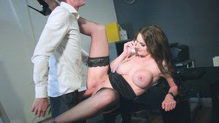 Marie Clarence in stockings and high heels is fucked on the desk image