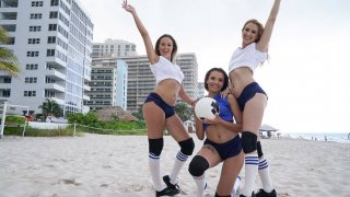 xredwap • Three_girls_getting_ready_for_volleyball_tournament image