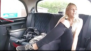 Hot tall blonde looking for fun in taxi image