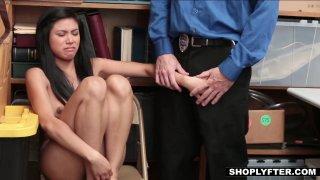 Asian shoplifting slut gets force fed some dick image