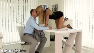 Office slut Angel Piaff gives her employee a raise in his pants image