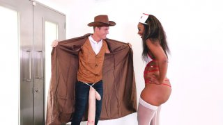 Image: Ebony Chanell Heart gently sucking the lucky white cock