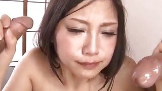 Maki Takei endures two cocks pounding her at the o image