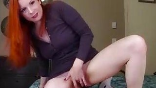 Big ass redhead mom rides panty-sniffing boy's cock in POV image