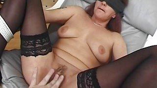 Blindfolded and Tied Mama Fucked With Facial image