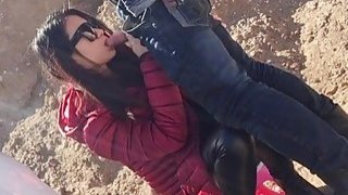 Amateur Chinese chick and her boyfriend bang doggy style outdoor image