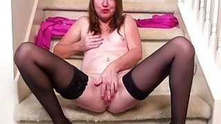 Image: USAwives Horny Mature Masturbating on the Stairs