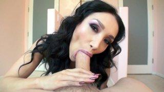 Mom Vicki Chase sucks cock and licks balls in POV image