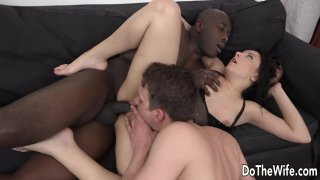 Wife Takes a Black Dick in Her Mouth and Ass While Her Husband Licks Her Cunt image