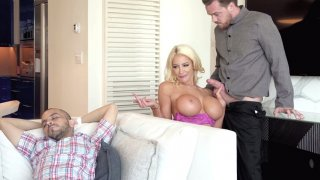 Nicolette Shea_sneakily sucking Kyle's cock nearby her_sleeping HB image