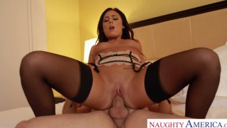 Attractive pornstar babe Gianna Nicole rides cock reverse cowgirl style image