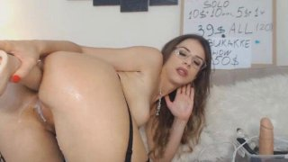 Nerdy Chick Plays with Her Huge Dildo image