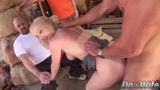 Husband watches_blonde wife Liz Black get fucked by big dick before facial image