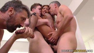 Image: Ebony slut September Reign gets gangbanged by horny white guys