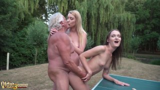 Oldje collects his prize threesome with highschool image