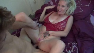 Busty mom seduces and fucks daughters boyfriend in small bed image