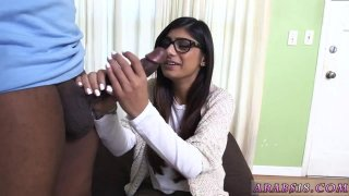 Shy teen gives the best Mia Khalifa Tries A Big Black Dick image