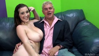Image: Buxom brunette babe cuckolds her man with hung black stallion