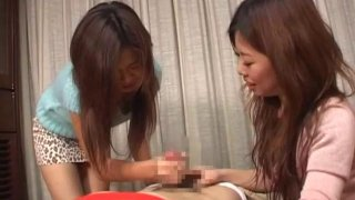 JAV CFNM bound for femdom handjob with cumshot image