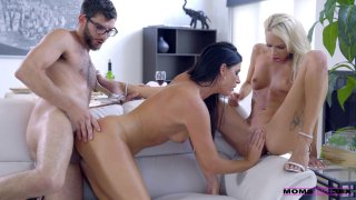 Lucky guy has hardcore threesome with two beautiful horny babes image