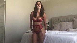 Busty Latina masturbates before anal image