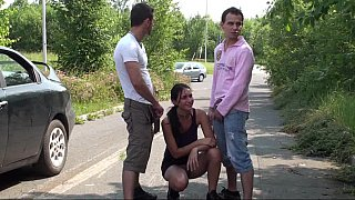 Image: Brunette face-fucked on the side of the road