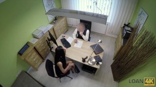 Naughty hottie gets doggy styled on hidden cam in office image