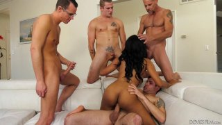 Bubble butt black chick gangbanged_by big dicked white stallions image