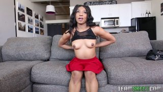 Image: Skinny black chick teases with her perky little tits solo