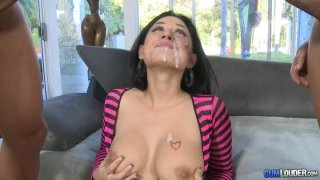 Hot babe Eva Angelina makes it threesome with a load_on her face image