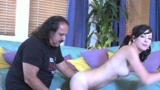 Fat fart enjoys Kenna Kane deep throat. image